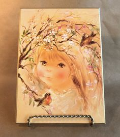 VINTAGE WALL PLAQUE of Little Girl Robins and Apple by BunnysLuck, $6.99