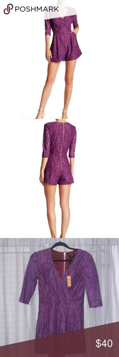 Alexia Admor Purple lace romper Size small Lace detail Gold zipper Pockets Excellent condition Haven't worn at all No holes or tares No trades Alexia Admor Other