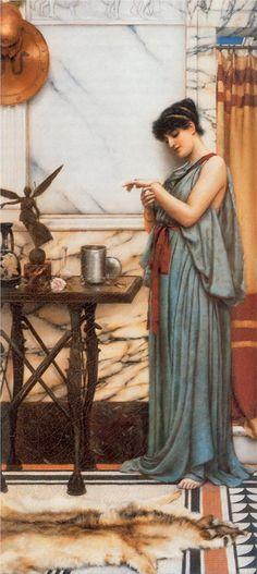 John William Godward. Se le ha clasificado a los prerafaelistas, pero por sus títulos y temáticas de sus obras, refleja otra inspiración: Las Civilizaciones clásicas, como la Roma y Grecia antiguas, propios del Neoclásico Victoriano