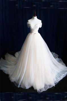 Ivory tulle prom dress, off the shoulder prom dress, ball gowns wedding dress