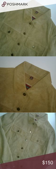 Jim and Marylou Perforated Suede Jacket Jim and Marylou perforated suede jacket in tan. Collared neckline. Multibutton front. 2 button flap pockets at the chest. Lined. 100% Leather. Lining: 100% Polyester Jackets & Coats