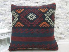 "turkoman embroidery design kilim pillow 16"" x 16"" handmade kilim cushion boho pillow bohemian pillow handmade pillow cover kelim cushion"