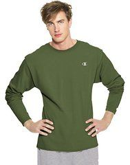 Champion Cotton Jersey LONG-SLEEVE Mens Shirt (9 Colors, MED-2XL)