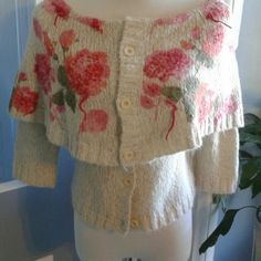 """Off Shoulder Shrug This is beautiful little cardi/shrug item. 11"""" Caplet around entire piece has flowers decorating with little bits of the yarn braided. Pink flowers, red decoration and green leaves with medium green decoration. Sleeves approx 18"""". Material used in last photo. Moth Sweaters"""