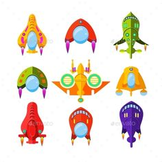 Colourful Spaceships and Rockets - #Miscellaneous #Vectors Download here: https://graphicriver.net/item/colourful-spaceships-and-rockets/13090751?ref=alena994