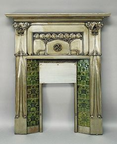 Art Nouveau tiled metal fireplace surround - The design is attributed to John Ednie, circa Metal Fireplace, Art Nouveau Architecture, Art Nouveau Interior, Fireplace Surrounds, Art Decor, Functional Art, Art And Architecture, Deco Furniture, Interior Deco