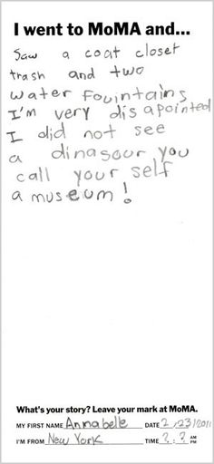 We apologize, on behalf of art museums everywhere, for the lack of dinosaurs.