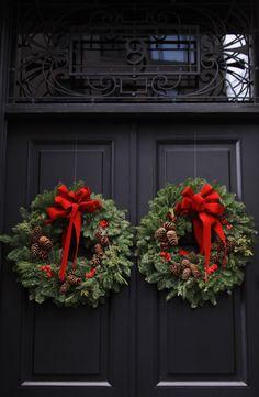 doors with wreaths, NYC - now I want to paint my door black....