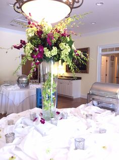 Indoor Wedding Reception Purple, White, and Green Flowers flowersbyon.com thompsonhouseandgardens.com