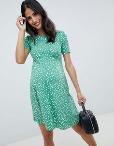 Buy ASOS DESIGN Maternity ultimate mini tea dress in scatter spot print at ASOS. With free delivery and return options (Ts&Cs apply), online shopping has never been so easy. Get the latest trends with ASOS now. Asos Maternity, Maternity Dresses Summer, Maternity Tops, Maternity Fashion, Maternity Work Clothes, Maternity Wardrobe, Maternity Wedding, Maternity Styles, Outfit Essentials
