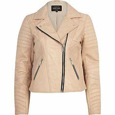 Light pink leather biker jacket - leather / leather look jackets - coats / jackets - women Moto Jacket, Blazer Jacket, Leather Jacket, River Island Fashion, Cute Jackets, Pink Leather, I Love Fashion, Casual Wear, Fashion Outfits