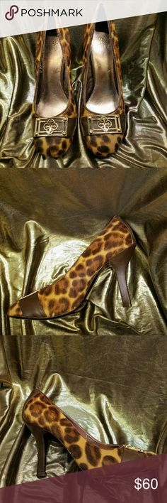 NWOT ISOLA cheetah cow hide heels Isola Brown Black Animal Print Cow Hide Pumps With Gold Embellished Toe Excellent Condition High Quality Leather Shoes With Heel Height Of 4 Inches isola Shoes Heels