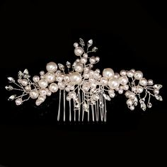 Sale 18% (8.88$) - Bride Rhinestone Crystal Pearl Hair Comb Elegant Wedding Prom Bridal Headpiece