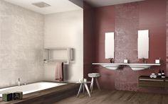 A rivestimento il colore Cardinal della nostra collezione Lace http://www.supergres.com/your-home/rivestimenti/item/162-lace #Bathroom #RivestimentoBagni #WallTiles #CeramisOfItaly