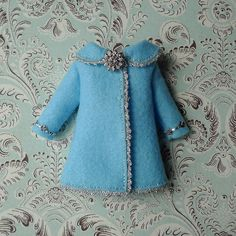 Baby Blue and Silver Felt Coat for Blythe by MissMilupka on Etsy