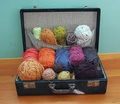Yarn in old suitcase.