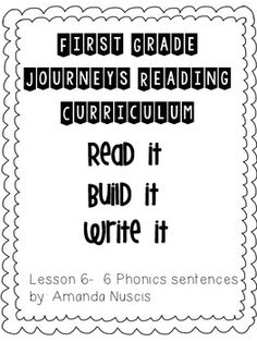 1st Grade Journeys Phonics Read it Build it Write it Unit 2 lesson 6 Jack and the Wolf