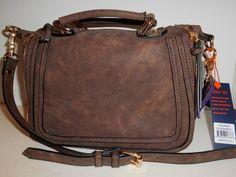 85fe76807c Violet Ray Satchel Crossbody Cognac Brown Faux Suede Top Zip Expandable NWT   VioletRay