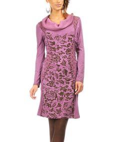 Look what I found on #zulily! Magenta Garden Cowl Neck Dress #zulilyfinds