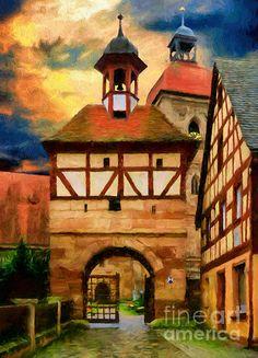 Meet In Moonlight by Georgiana Romanovna Impressionism, Moonlight, Mixed Media, Meet, Wall Art, City, Painting, Drawings, Painting Art