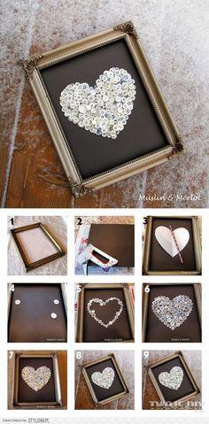 DIY – Darujte srdce z knoflíků na originálním obraze