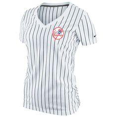 NewYorkYankees MLB Nike Women s Cooperstown Pinstripe Ole Faithful V-Neck T -Shirt  35.99 79872d38591