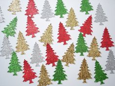 50 Glittered Christmas Evergreen Tree paper punch by BelowBlink