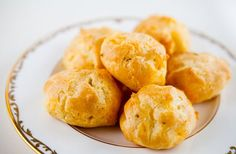 Cheddar Cheese Puffs ~ Light and airy savory cheese puffs (gourgères) with cheddar cheese and thyme. ~ SimplyRecipes.com