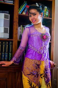 Purple Gradasi Kebaya  TOP ONLY  Kebaya tile embroidery shades with gold embroidery cornelly is basic colour gradation tile with standard size. It's hand made, decorated with high quality sequins. The coiled tread cornelly give you natural exotic look and bring an aura of wearer.