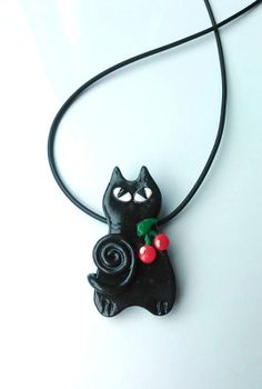 Black Cat Necklace Cherry Cat Polymer Clay by CherryCarnage, £8.95
