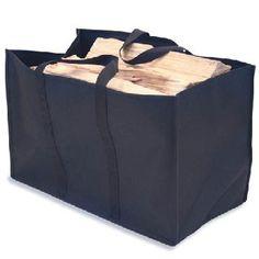Canvas Log Bag-Black Canvas #loghomeinteriors