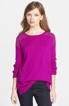 Chaus Embellished Shoulder Cotton Blend Sweater available at #Nordstrom