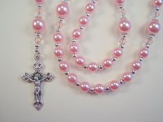 """Girls Teens Rosary Catholic Light Pink Czech Glass Pearl Beads 16 1/4""""  Chica Rosario  Free Shipping USA by TheGemBeadLink on Etsy"""