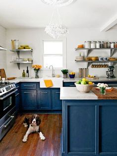 Kitchen Renovation Inspiration: Colorful Cabinets - navy blue, medium wood floors, white upper, open shelving.