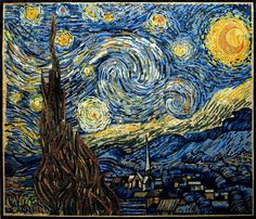 This is a mosaic reproduction of Starry Night Vincent Van Gogh famous painting. It is completely handmade from natural stones and hand cut tiles., Get it now for $1270.