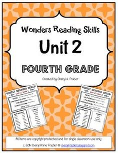 Wonders Reading Unit 2 Skill, Vocab, and Spelling List (4th Grade)
