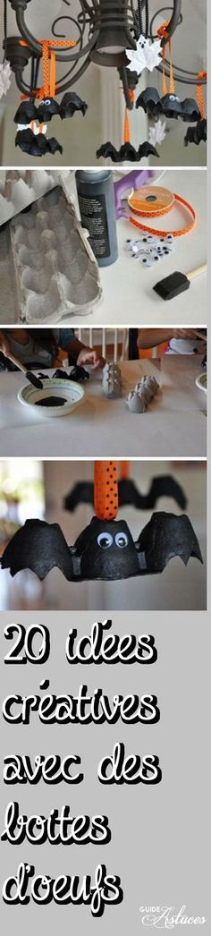 Egg Carton Bats and Leaf Ghosts Click Pic for 27 DIY Halloween Decorating Ideas for Kids Easy Halloween Party Decor Ideas for Kids Hallowen Ideas, Homemade Halloween Decorations, Halloween Crafts For Kids, Halloween Projects, Holidays Halloween, Diy Projects, Happy Halloween, Easy Decorations, Halloween Zombie