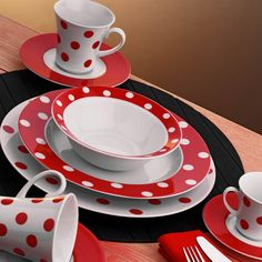 for my red kitchen! Red Kitchen, Kitchen Decor, Red Dinnerware, My Favorite Color, My Favorite Things, Color Mixing, Tea Pots, Red And White, Polka Dots