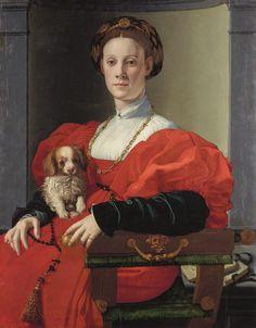 """""""Portrait d'une dame en rouge"""" d'Agnolo di Cosimo, dit Bronzino, huile sur bois, vers 1525-1530. - Crédits photo : Städel Museum - U. Edelmann / ARTOTHEK"""