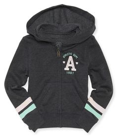 """If you love sporty styles that dazzle, our A 1987 Athletic Dept Zip-Front Hoodie is the perfect pick! It's crafted with classic deets like kangaroo pockets and rib-knit trim, but the best part is the girly, glitter-accented graphics on the front and sleeves.<br><br>Slim fit. No drawstring. Approx. length (10): x""""<br><br>Style: 4023. Imported.<br><br>60% cotton, 40% polyester.<br>Machine wash/dry."""