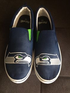 SEATTLE SEAHAWKS Shoes hand painted by iHeartCraftLife on Etsy