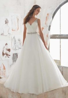 Found at Bridal Isle-Loomis, Shop Morilee's Marlowe Wedding Dress. 2017 Designer Wedding Dresses and Bridal Gowns by Morilee. This Organza Wedding Ballgown Combines a Traditional A- Line Silhouette with Modern Details. Spring 2017 Wedding Dresses, Bridal Wedding Dresses, White Wedding Dresses, Bridesmaid Dresses, Bridesmaids Hairstyles, Wedding White, Wedding Dresses With Straps, 2017 Bridal, Tulle Wedding