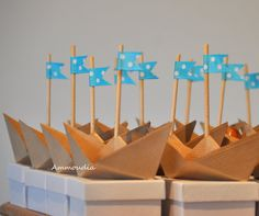 Beach wedding favors-origami sailboat with ribbon flag by AMMOUDIA