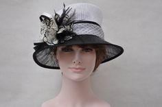 """Sinamay Wedding Kentucky Derby Church Downton Abbey Feather Dress Hat 3"""" Brim"""
