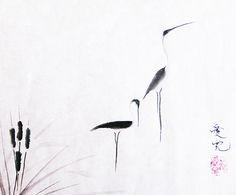 Beautiful Sumi ink painting of wading birds!