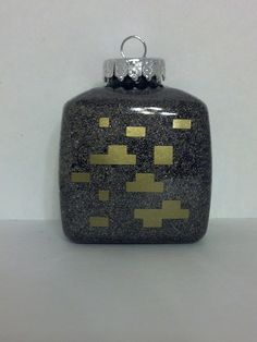 Minecraft Gold Ore Christmas Ornament Can be by JustAnAwesomeMom