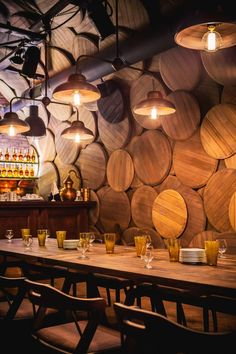 Shustov Brandy Bar - repurposed wine barrel lids.