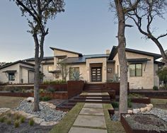 Central Texas Retreat - contemporary - exterior - austin - by Bulhon Design Associates Rustic Country Homes, Hill Country Homes, Country House Plans, Terraced Landscaping, Modern Landscaping, Texas Landscaping, Landscaping Design, Limestone House, Austin Real Estate