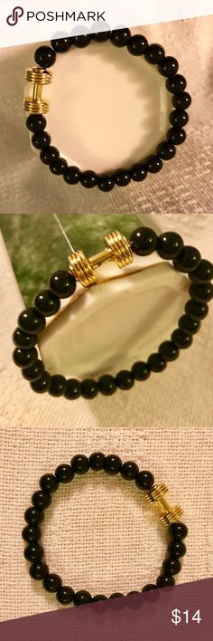 "Bracelet, Bar Bell and Black Beads Gold Bar Bell and Black Beads. Stretch bracelet is 9.5"" relaxed. Adornments4u SpecialFinds Jewelry Bracelets"