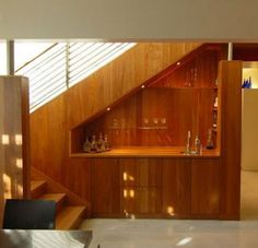 Under Stairs Design, Pictures, Remodel, Decor and Ideas Bar Under Stairs, Space Under Stairs, Under Stairs Cupboard, Small Cupboard, Maximize Small Space, Small Spaces, Bar Embutido, Under Stairs Storage Solutions, Stairway Storage